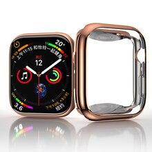 Capa para apple assistir série 3 4 5 se 6 protetor de tela caso amortecedor pulseira apple relógio 44mm 40mm 42mm 38mm acessórios