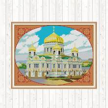 Cathedral of Christ The Saviour Embroidery 14ct 11ct Count Printed Canvas Stitches Patterns Home Decor Kits Cross Stitch Kit(China)