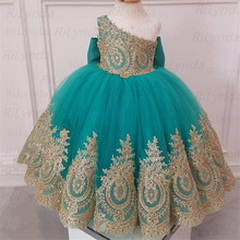 Dresses Flower-Girls Gowns Lace Gold Pageant Little Sleeveless NEW Cute with Applique