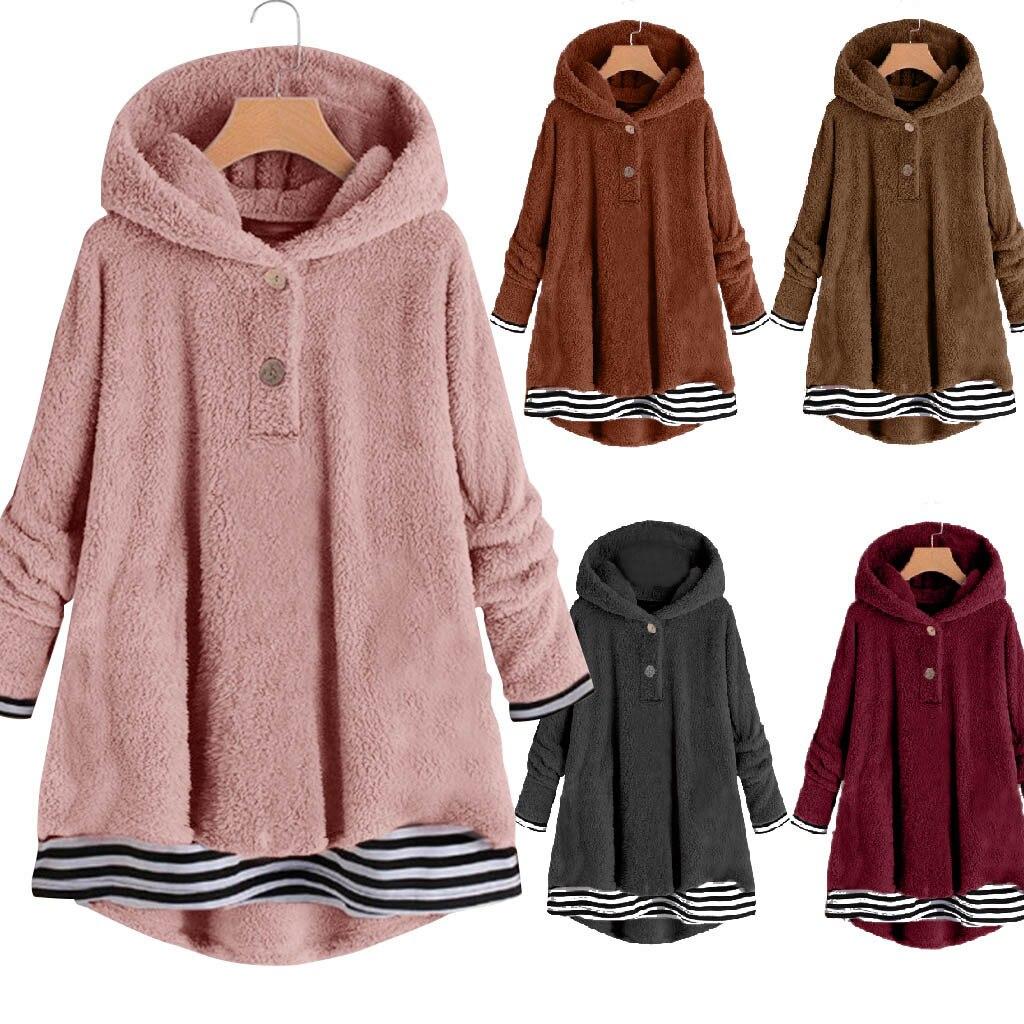 sudaderas mujer 2020 ropa mujer bluza damska hoodies women Fleece Striped Printing Button Hem Plus Size Hoodie