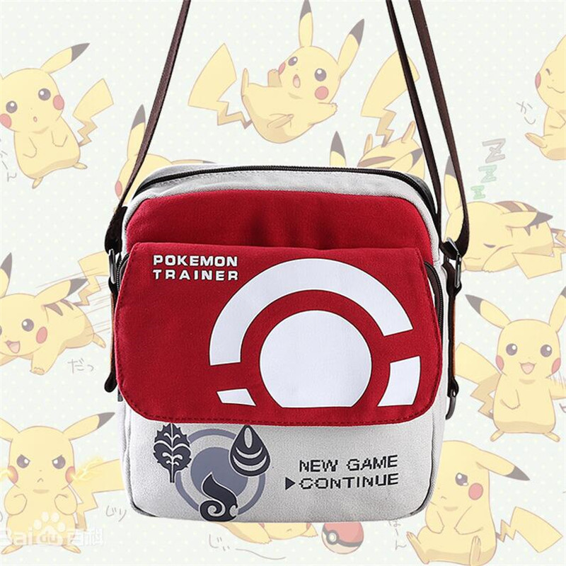 Hot New Japan Game Anime Pokemon Shoulder Bag Cartoon Cute Pocket Monsters Messenger Bag Fashion Canvas Haversack