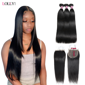 Straight Hair Bundles With Closure Non-Remy Peruvian Hair Bundles With 5x5 Closure Human Hair Bundles with Frontal For Women image