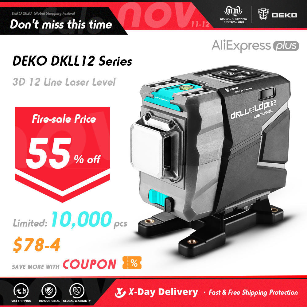 DEKO DC Series 12 Lines 3D Green Laser Level Horizontal And Vertical Cross Lines With Auto Self Leveling, Indoors and Outdoors|Laser Levels| - AliExpress