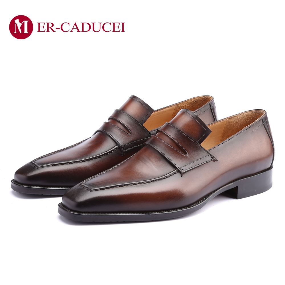 Italian Mens Dress Shoes Loafer Luxury Genuine Leather Shoes Fashion Vintage Retro Party Formal Business Wedding Shoes For Men