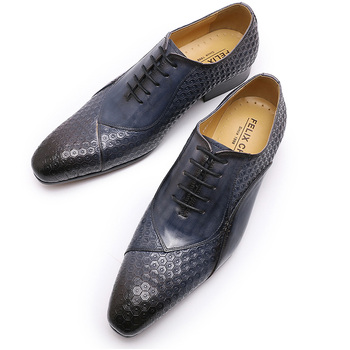 Italian Shoes Handmade Autumn Mens Dress Shoes Lace Up Genuine Leather Wedding Formal Oxfords Business Office Black Blue Shoes qyfcioufu new genuine leather men s dress shoes handmade office business wedding weave luxury lace up formal oxfords mens shoes