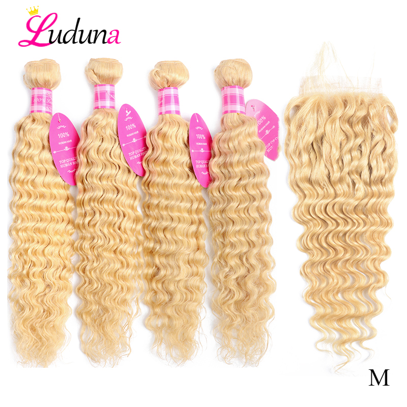 Luduna 613 Blonde Deep Wave Bundles With Closure Remy Human Hair Closure With Bundles 4x4 Swiss Lace Closure Baby Hair Around image