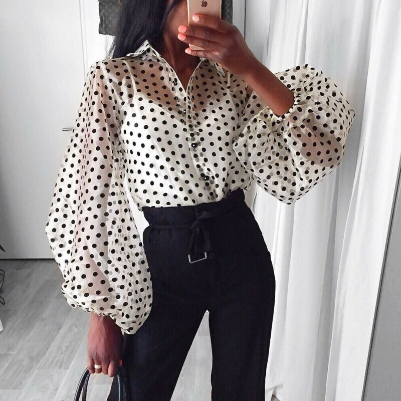 New Women Blouse Sexy Puff Sleeve Polka Dot Ladies Tops Blouse Shirts See Through Ladies Shirts And Blouses Womens Clothing