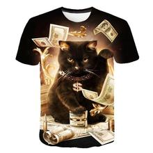 2020 fashion new cool T-shirt men and women 3D T-shirt pattern two cats short-sleeved summer top T-shirt T-shirt S-6XL