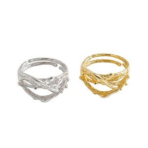 Image 1 - 925 anillos de plata esterlina de oro hueco Irregular para mujer, anillo Anelli Argento 925, joyería fina para mujer, joyería