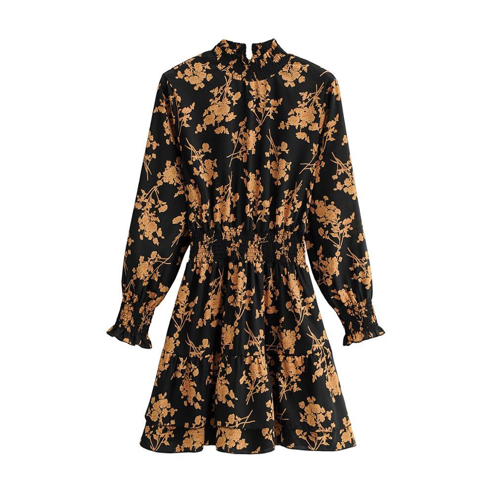Klkxmyt Za Dress Women 2020 Chic Fashion Floral Print Mini Dress Vintage Long Sleeve Elastic Waist Female Dresses Vestidos Mujer 7