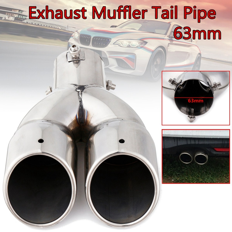 63mm Double Outlet Stainless Steel Chrome Car Muffler Exhaust Pipe Tip End Trim Modified Tail Throat Car Liner Pipe Silver Tools image