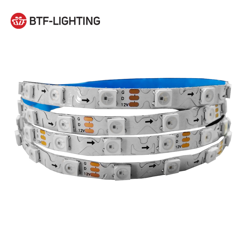 DC12V WS2812B S Shape Foldable Led Strip 60leds/m 6mm PCB Dream Color 5050 RGB Pixels Tape Light Individually Addressable IP30