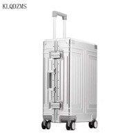 KLQDZMS 20''24''26''29 Inch herren Hohe Qualität Personalisierte Reise Gepäck Taschen Alle Aluminium Trolley Student Roll Gepäck