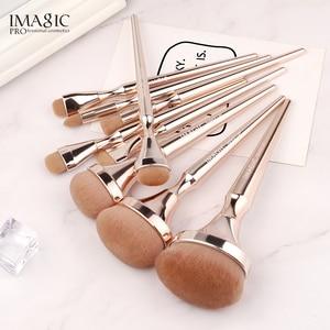Image 5 - IMAGIC 9pcs 메이크업 브러쉬 키트 소프트 나일론 헤어 Partij 블렌딩 브러시 메탈릭 핸들 Maquillaje Profesional Oogschaduw Tools Set