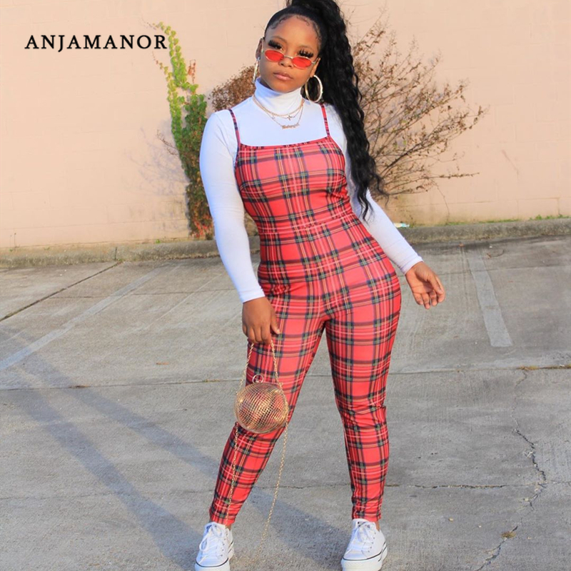 ANJAMANOR Red Plaid Print Bodycon Jumpsuit Womens Pants Summer 2020 Sexy Club Outfits Casual Romper Ropa Para Mujer D22-AD58