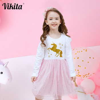 VIKITA New Fille Robe Licorne Girls Unicorn Birthday Party Dress Toddlers Tutu Princess Vestidos Kids Mesh Dress for Girls vikita girls unicorn dress princess tutu dress for girls children birthday party licorne vestidos kids autumn winter dresses