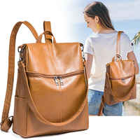 2019 new women's anti-theft backpack British style fashion PU leather Solid school bag casual portable travel shoulder bag