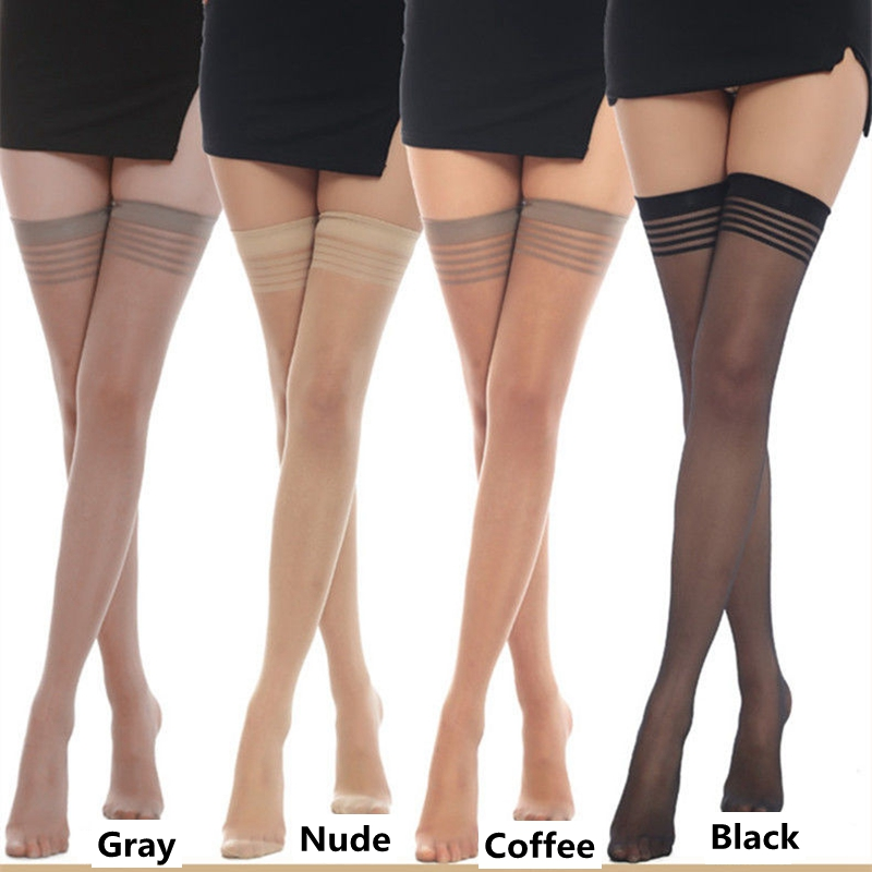 5 Pairs Women Over Knee High Long Stocking Thigh High Stockings Sexy Ladies Transparent Stay Up Stripe Overknee Panty Hose