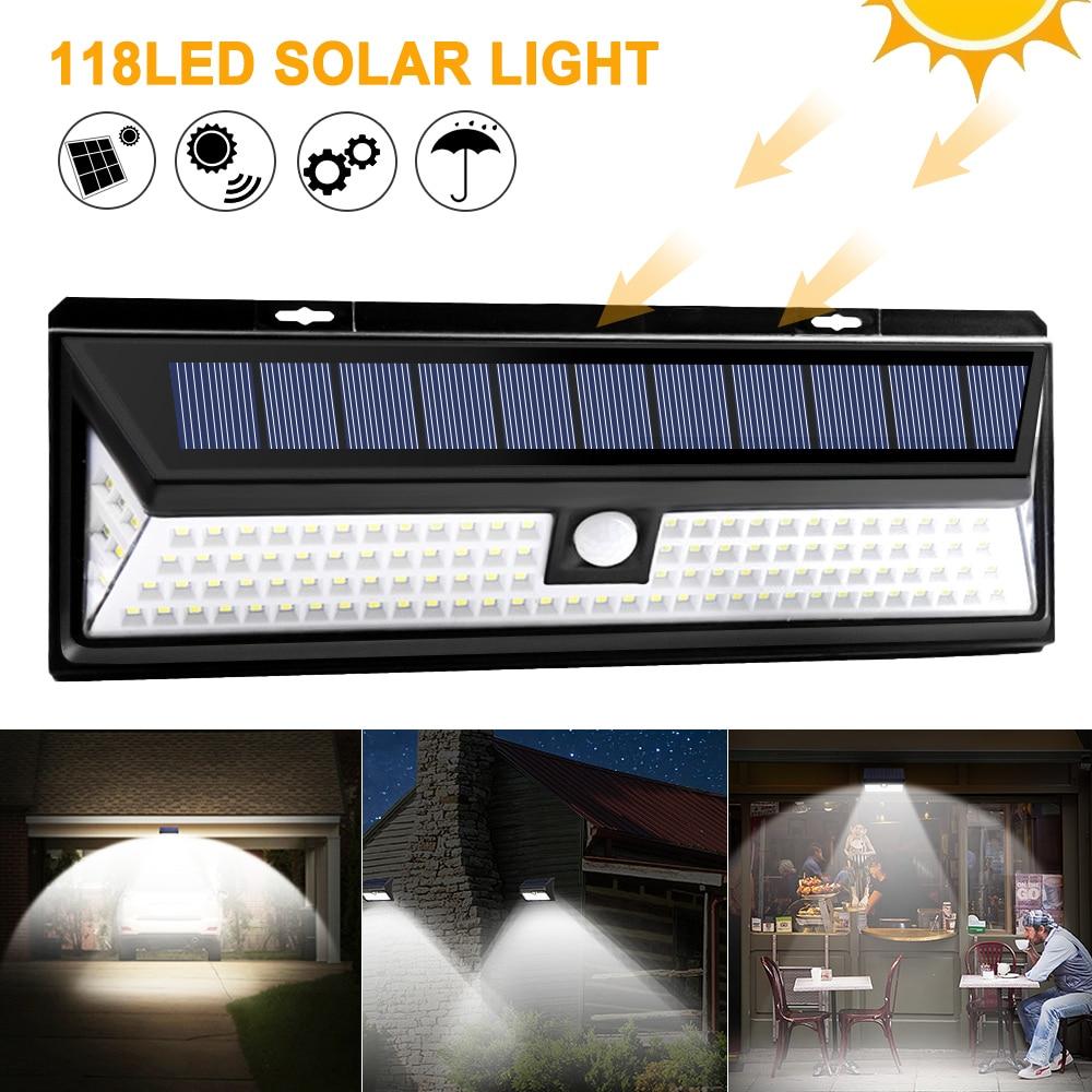 118 led solar luz pir sensor de movimento ao ar livre 3 modos lampada parede solar