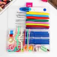 57 pçs/set 16 tamanhos kit de ganchos de crochê agulhas de tricô pontos caso de artesanato tricô ferramentas de costura