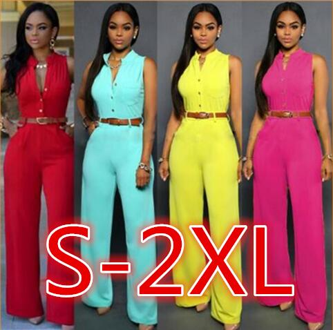 S-2XL PlusSolid Casual Sexy Sleeveness Jumpsuits 2020 New Arrival Women Summer Fashion Slim Elegant Long   Rompers   Female XXL