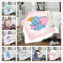 Disney Cartoon Pink Blue Dumbo Cashmere Blanket Bed Cover Bedspread Coverlet Blanket Flannel Sherpa Christmas Gift