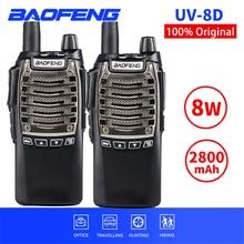 2 pçs 8 w baofeng UV 8D walkie talkie portátil ptt rádio em dois sentidos uv8d handheld cb ham rádios comunicador transceptor interfone