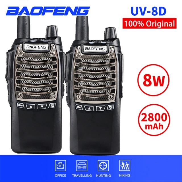 2PCS 8W BaoFeng UV 8D Walkie Talkie Portatile PTT Two Way Radio UV8D Palmare CB Ham Radio Comunicador Ricetrasmettitore interphone
