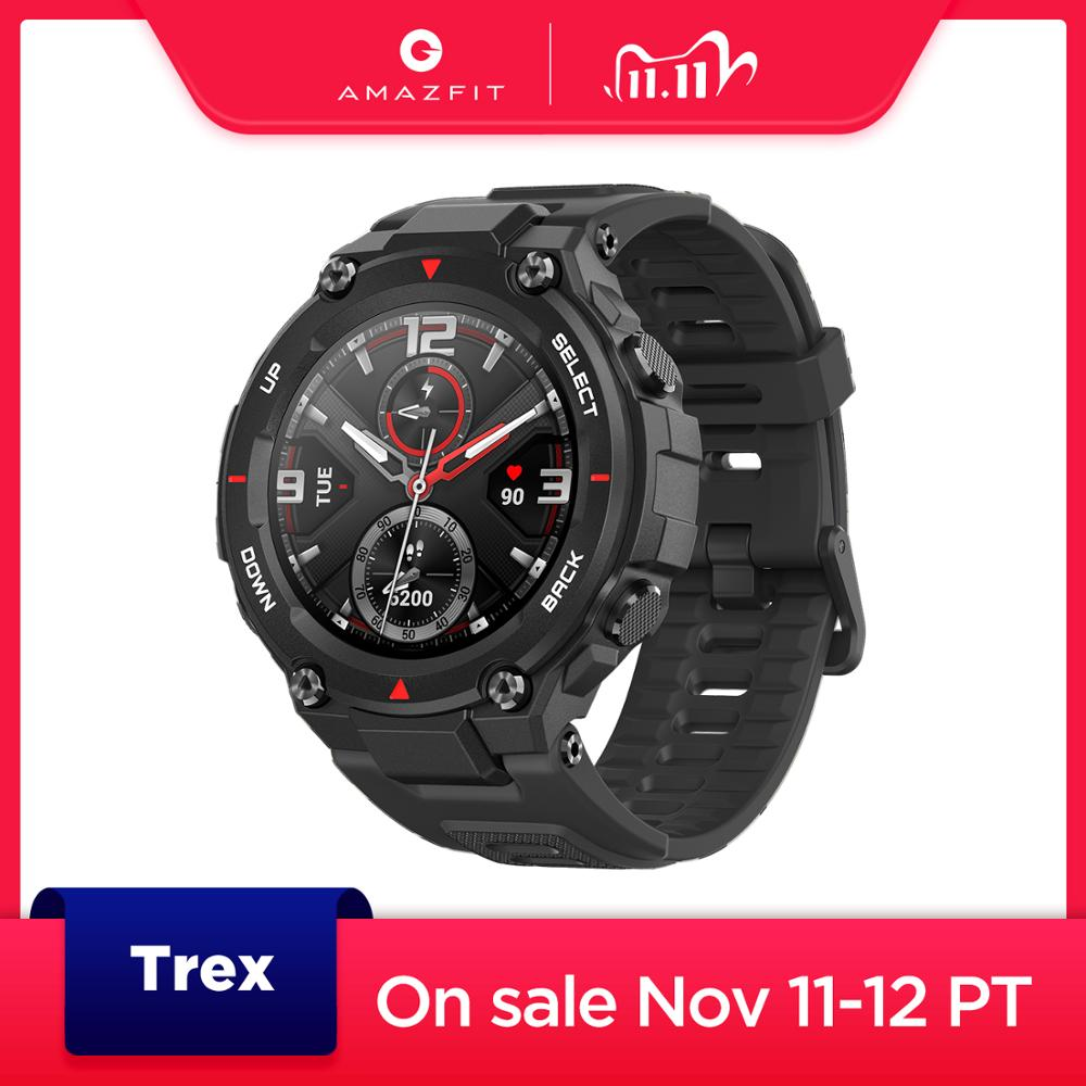 New 2020 CES Amazfit T rex T-rex Smartwatch Control Music 5ATM Smart Watch GPS GLONASS 20 days battery life MIL-STD for Android
