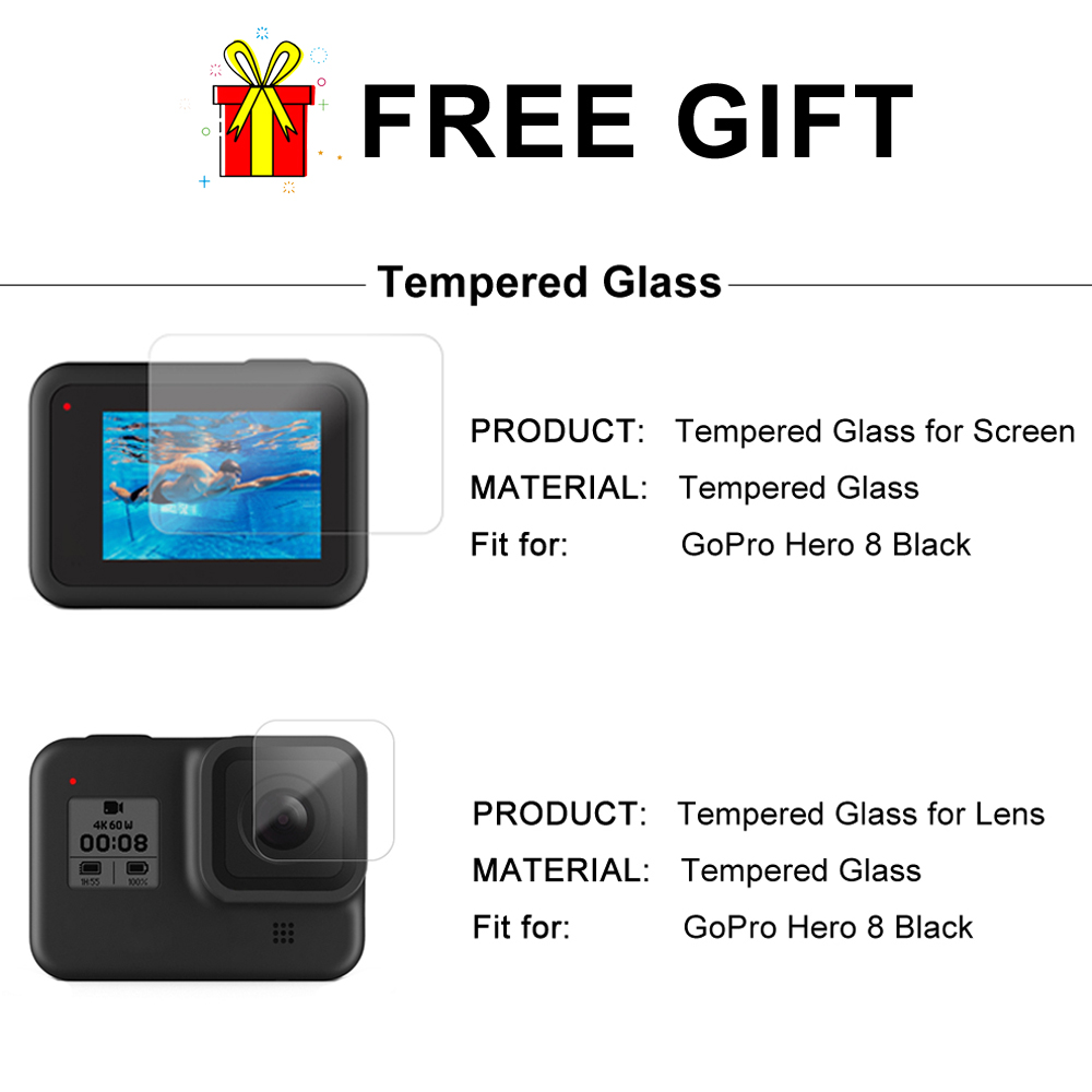 Image 5 - CNC Aluminum Case for GoPro Hero 8 Black Metal Frame Cage    Screen Protector   Lens Tempered Glass for Go Pro 8 AccessoriesSports  Camcorder Cases