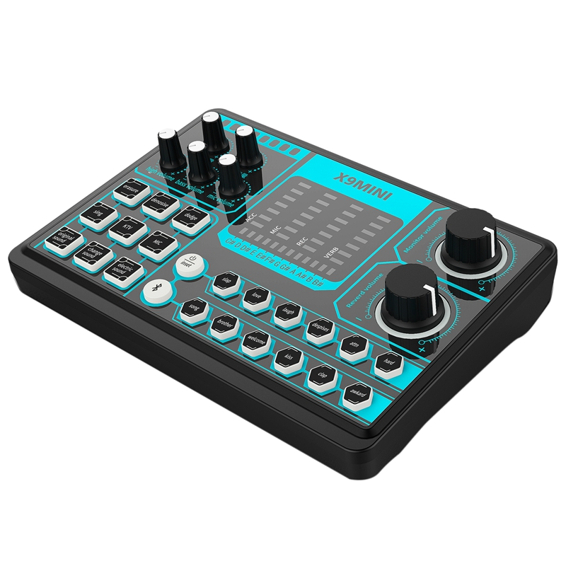 X9 MINI Computer External Mobile Phone Sound Card Repair Tone Mixer Suitable for Home Computer Recording, Live Broadcast