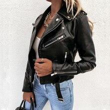 Chaqueta corta de cuero sintético para mujer, abrigo negro de cuero gótico para motocicleta, Otoño e Invierno