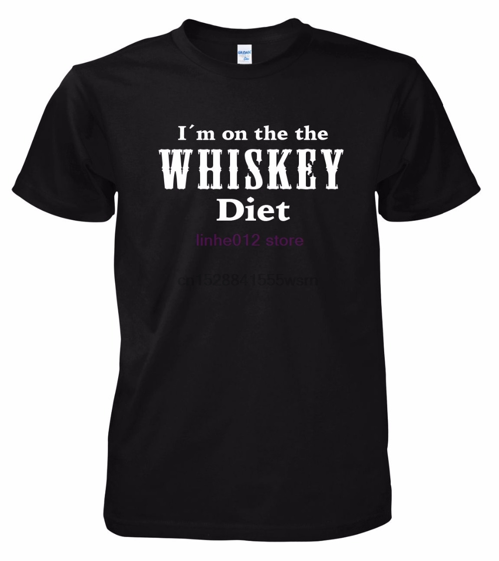 2020 Summer Brand Casual Funny Cotton Short Sleeve Men I'm On The The Whiskey Diet High Quality Tops Tee Shirt For Man image