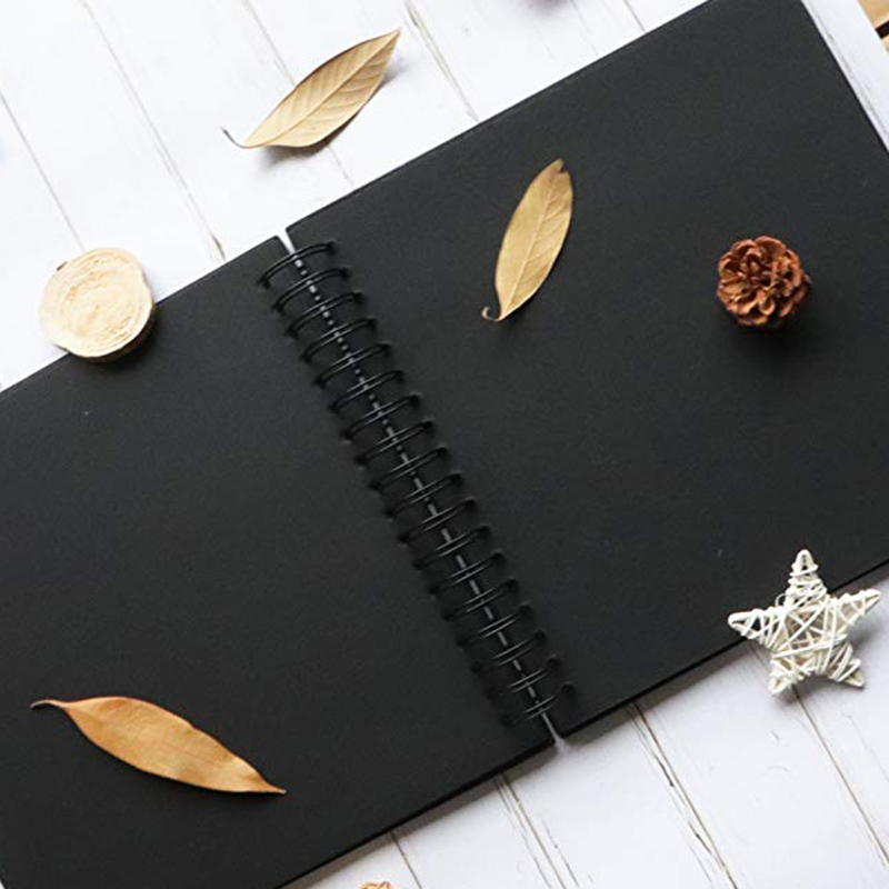31.5 x 21 cm 40 Pcs / 80 Pages Black Paper Scrapbook Wedding Guest Book DIY Anniversary Travel Memory Scrapbooking Photo Album image