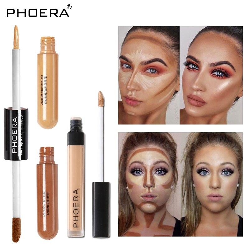 PHOERA жидкий консилер с двойной/одной головкой, Осветляющий консилер с полным покрытием, основа, крем для основы, стойкий макияж, глаза для лиц...