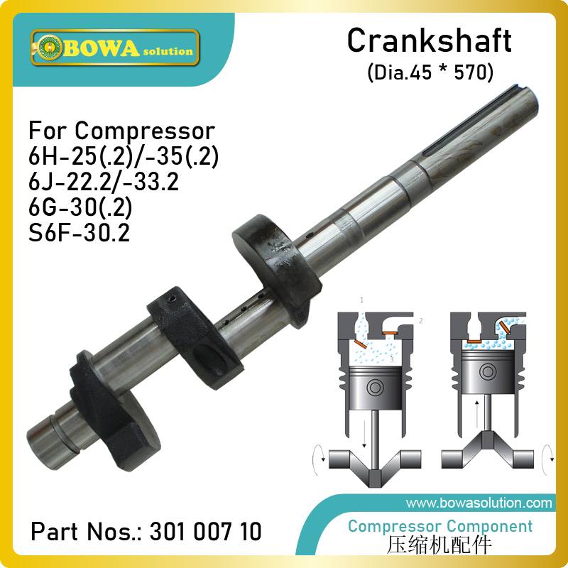 Dia.45 X 570mm crankshaft is designed for semi hermetic compressors  interchangeable with 6G30.2 and S6F30.2 components|compressor sanden|compressor hose|compressor wheel - title=