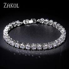 Zakol luxo 5mm zircônia cúbica tênis pulseiras corrente cristal pulseira de casamento para mulheres ouro cor prata hip hop jóias