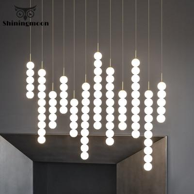 Nordic Led Pendant Lights Post-modern Creative Art Ball Bedside Pendant Lamp Stair Kitchen Bar Lustre Hanglamp Lighting Fixture