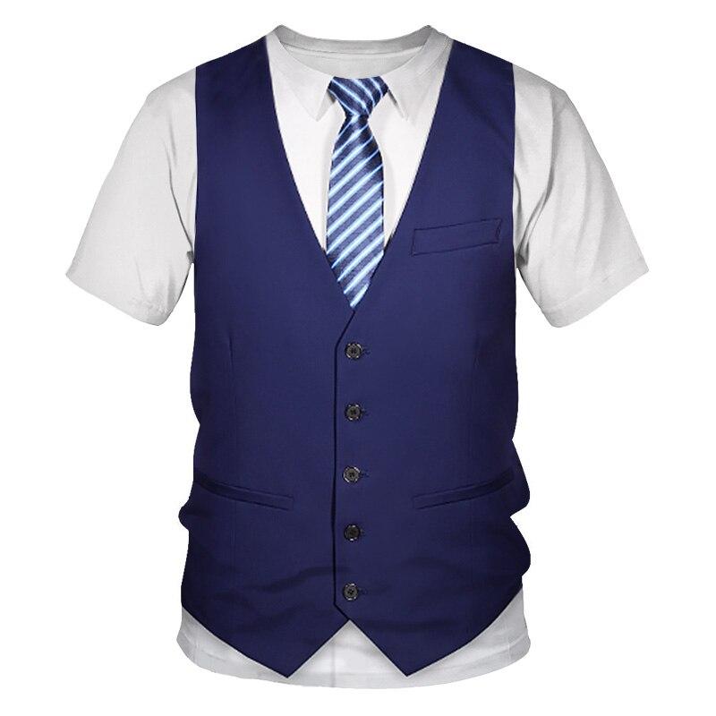 Забавный поддельный костюм 3D футболка галстук-бабочка для смокинга 3D печатные футболки мужская летняя мода короткий рукав Уличная имитаци...
