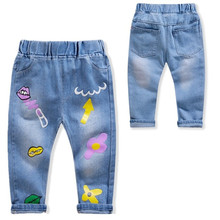 Girls Jeans Autumn Print Pattern Trousers Boys Cartoon Ripped Jeans Children Jeans Kids Clothes Baby Girl Birthday Party Jeans