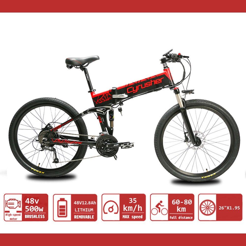 Cyrusher XF770 vélo électrique pliant montagne Ebike pour hommes 26 pouces vélos à Suspension complète 48V500W 12.8Ah double freins à disque
