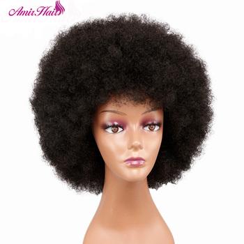 Peruka Afro kobiety krótkie puszyste włosy peruki dla czarnych kobiet perwersyjne kręcone włosy syntetyczne na imprezę impreza typu Cosplay peruki z grzywką tanie i dobre opinie AMIR HAIR Wysokiej Temperatury Włókna CN (pochodzenie) 1 sztuka tylko Ciemny brąz Średnia wielkość Elastyczne koronki