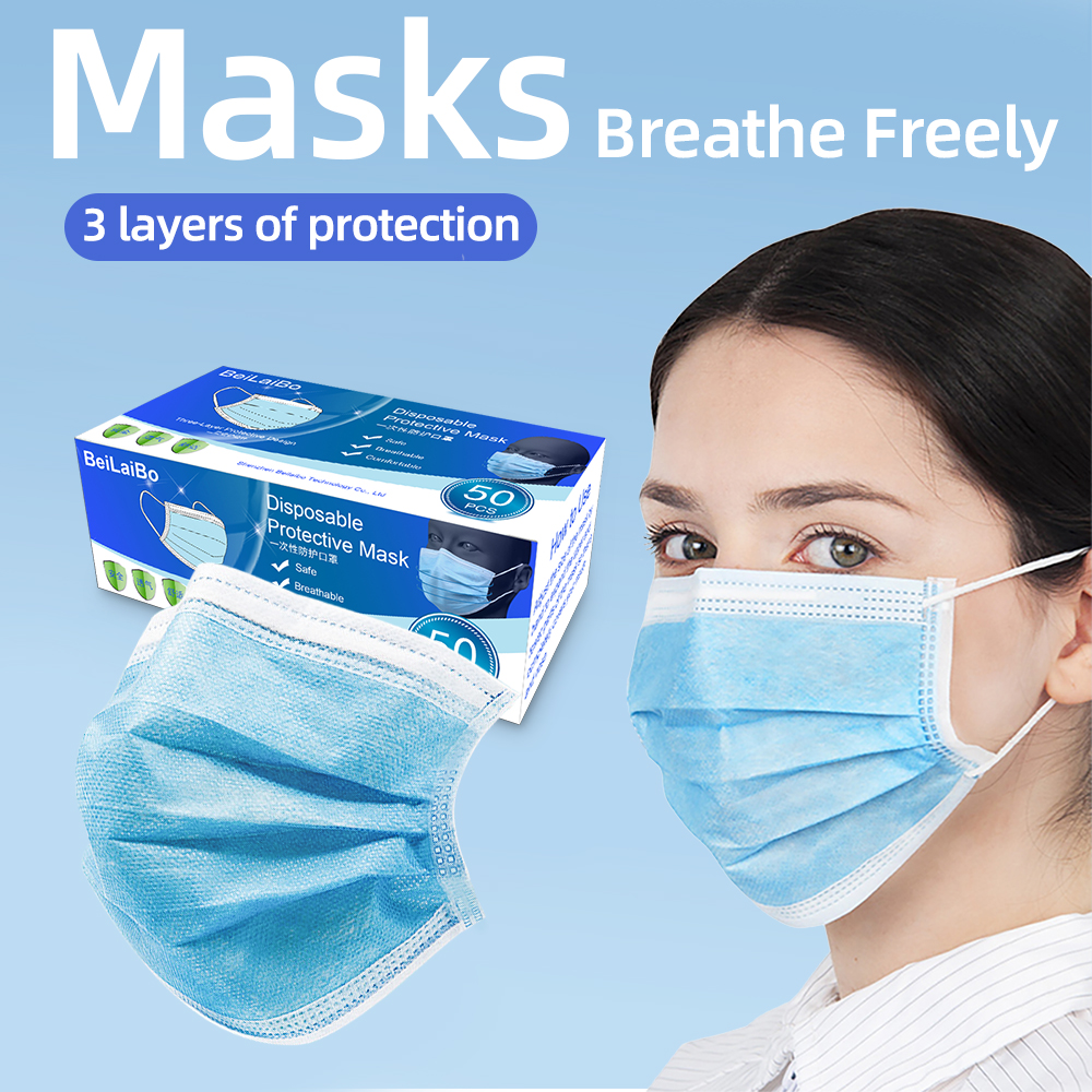 50pcs High Quality 3 Layers Protective Masks Prevent Anti Virus Dust Formaldehyde Bad Smell Bacteria Protection Face Mouth Masks