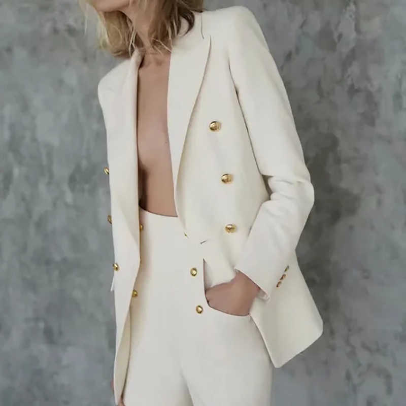 Zxqj Elegante Vrouwen Beige Suits 2020 Fashion Dames Double Breasted Blazer Set Casual Vrouwelijke Chic Shorts Set Meisjes Zoete Sets