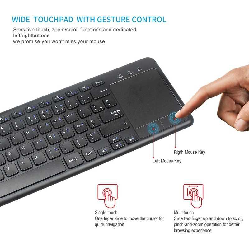 Французская версия 2,4G Беспроводная клавиатура с Presspad для Windows PC, ноутбука, Ios Pad, Smart tv, HTPC IP tv, Android Box