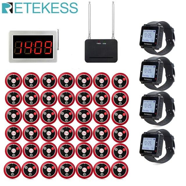 Retekess מסעדת הביפר שיחת מלצר מארח + 4 שעון מקלט + אות מהדר + 42 T117 שיחת כפתורים עבור בר קפה שיחה ללקוח