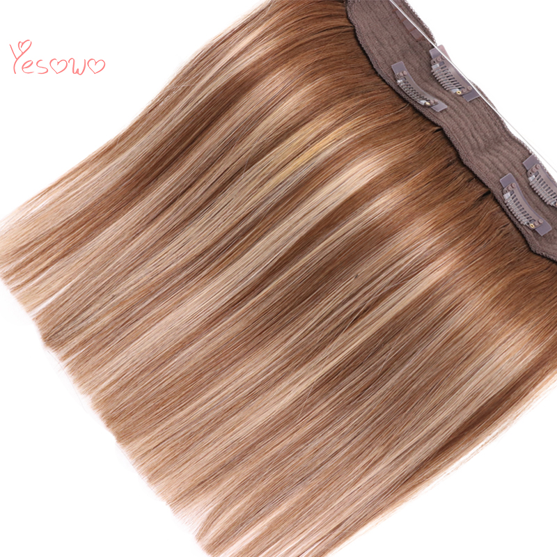Yesowo 4/27/4# Highlight Halo Hair Silky Straight Brazilian Remy Human Hair Pieces Real Hair Clip In Flip Hair Extensions