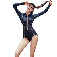 Long sleeved sports swimwear ladies one piece swimsuit sunscreen small size zipper beach surfing large size swimsuit