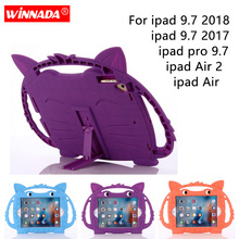 Silicone case for ipad 9.7 2017 2018 cover pro 9.7 cartoon fox handheld rubber tablet PC coque moive stand para for ipad Air 2 цена и фото