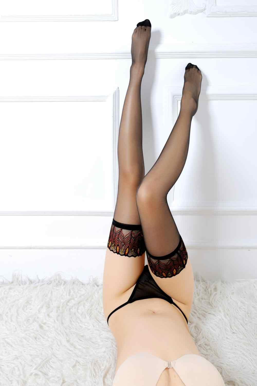Renda Seksi Pakaian Dalam Wanita Fetish Stoking Merak Patterm Celana Ketat Ultra Sutra Elastis Pakaian Kostum Kelambu
